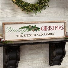 Merry Christmas Personalized Barnwood Frame Wall Art - 22602