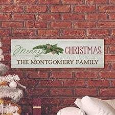 Merry Christmas Personalized Canvas Print - 22604