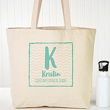 Initial & Name Personalized Canvas Tote Bags - 22617