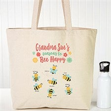 Bee Happy Personalized Canvas Tote Bags - 22621