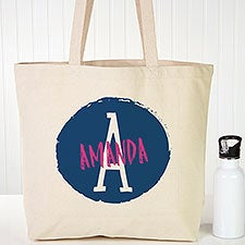 Colorful Initial & Name Personalized Canvas Beach Bags - 22625