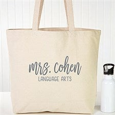 Scripty Style Personalized Teacher Tote Bags - 22631