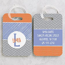 Personalized Kids Luggage Tags - Colorful Name & Initial - 22642