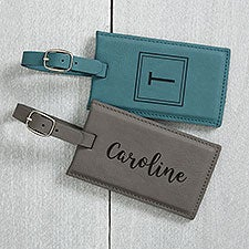 Personalized Faux Leather Luggage Tags - 22657