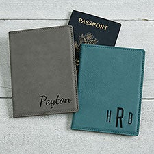 Personalized Faux Leather Passport Holder - 22658