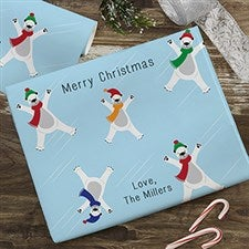 Skating Polar Bears Personalized Wrapping Paper - 22667