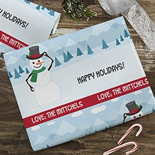 Holiday Snowman Personalized Wrapping Paper - 22673