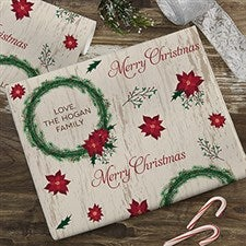 Tree & Wreath Personalized Wrapping Paper - 22676