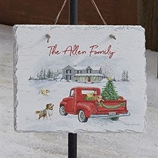 Farmhouse Holiday Personalized Slate Plaque - 22720
