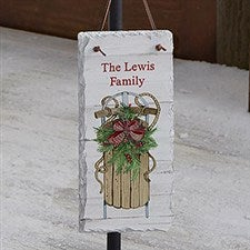 Holiday Sled Personalized Vertical Slate Plaque - 22722