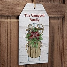 Holiday Sled Personalized Wall Tag Sign - 22725