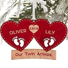 Personalized Twins First Christmas Ornament - Twin Arrival - 22742