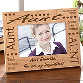 Engraved Wood Personalized Aunt Picture Frame - 2277