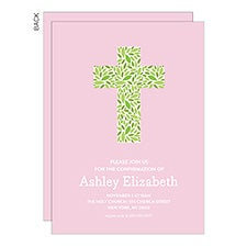 Religious Floral Cross Personalized Party Invitations - 22776