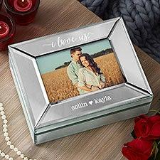Custom Engraved Mirrored Photo Box - I Love Us - 22791