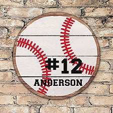 Personalized Round Wood Baseball Sign - 22802