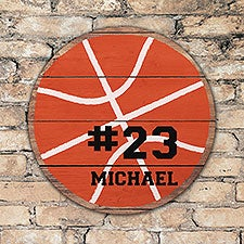 Personalized Round Wood Basketball Sign - 22804