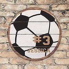 Personalized Round Wood Soccer Sign - 22805