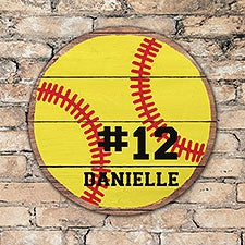 Personalized Round Wood Softball Sign - 22806