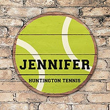 Personalized Round Wood Tennis Sign - 22807