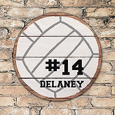Personalized Round Wood Volleyball Sign - 22813