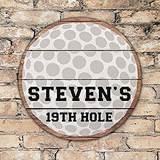 Personalized Round Wood Golf Sign - 22814