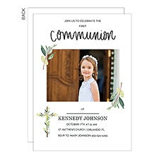 First Communion Invitations - Botanical Cross Photo - 22820