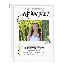 Confirmation Party Invitations - Botanical Cross Photo - 22824
