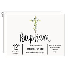 Baptism Botanical Cross Personalized Invitations - 22837