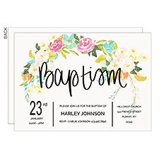 Floral Baptism Personalized Party Invitations - 22850