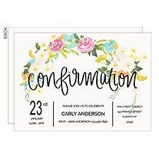 Floral Confirmation Personalized Party Invitations - 22852