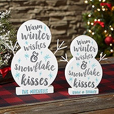 Winter Wishes & Snowflake Kisses Personalized Wooden Snowman - 22853