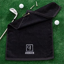 Embroidered Monogrammed Black Golf Towel - 22864
