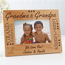 Custom Personalized Wood Picture Frame - Grandma and Grandpa Design - 2288