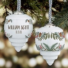 Winter Evergreen Baby's First Christmas Personalized Ornament - 22888