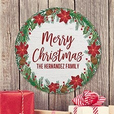 Holiday Wreath Personalized Round Wood Sign - 22889