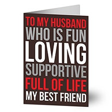 Because You're You Personalized Husband Greeting Cards - 22902