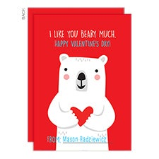 I Like You Beary Much Custom Valentine's Day Cards - 22907