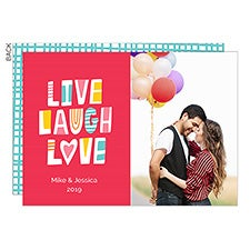Live Laugh Love Valentine's Day Custom Photo Cards - 22916