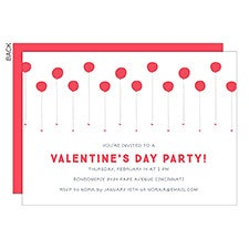 Valentine's Day Balloons Personalized Party Invitations - 22924