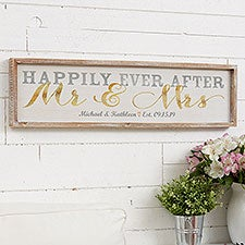 Happily Ever After Mr & Mrs Personalized Wall Art - 22930