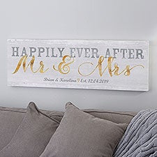 Happily Ever After Mr & Mrs Personalized Canvas Print - 22932