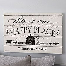 This Is Our Happy Place Farmhouse Personalized Canvas Print - 22933