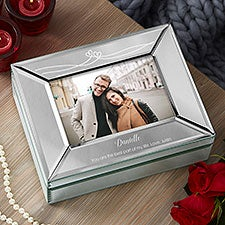 Custom Engraved Mirrored Photo Box - Romantic Gift - 22936