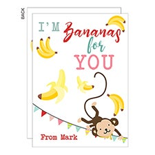 I'm Bananas For You Personalized Kids Valentine's Day Cards - 22952