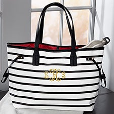 Custom Embroidered Handbag -  Black & White Stripe - 22973