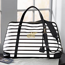 Custom Embroidered Duffle Bag -  Black & White Stripe - 22974