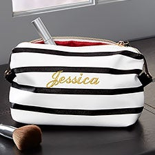 Custom Embroidered Cosmetic Pouch - Black & White Stripe - 22975