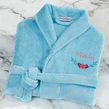 Blue Floral Embroidered Short Fleece Bath Robe - 22977