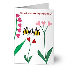 Bee My Valentine's Personalized Greeting Card - 23001